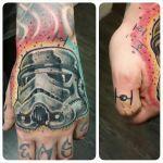 Star Wars storm trooper helmet and tie fighter