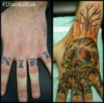 Flaming skull and tree cover up by Brendan (aka Sailor B).