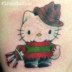 Adorable yet sinister Hello Kitty Freddy Krueger mash up by Tami Rose.