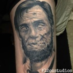 Amazing zombie Abe Lincoln portrait by Kevin Soto.