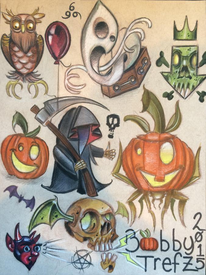 Halloween tattoo designs by Bobby Trefz.