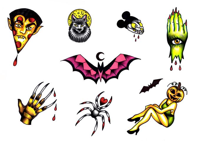 Halloween tattoo designs by Rebecca La Norma.